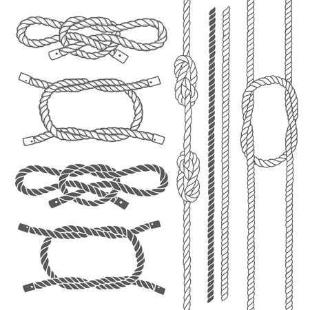 Illustration pour Set of marine rope, knots. Vector elements on a white background. Hand-drawn vector illustration. - image libre de droit