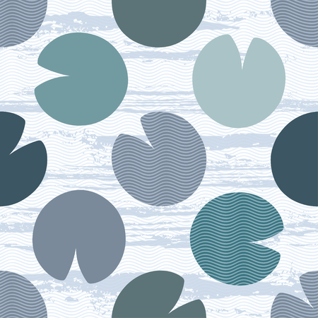 Ilustración de Silhouettes of water lily leaves on a textural background. Seamless vector pattern. Monochrome nature background. - Imagen libre de derechos