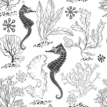 Illustration pour Seamless pattern with seahorses and underwater plants on a white background. Black and white vector illustration. - image libre de droit