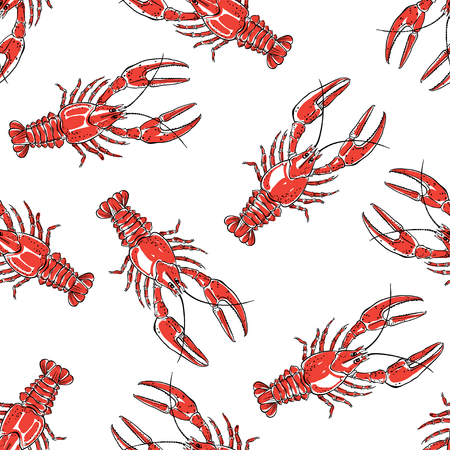 Illustration pour Seamless pattern with red crawfish on a white background.Hand drawn vector illustration. - image libre de droit