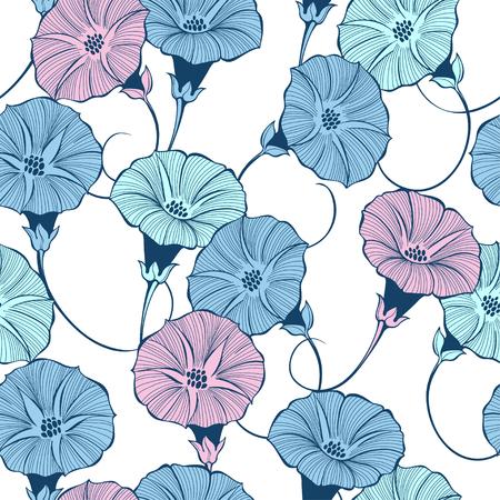 Ilustración de Floral seamless pattern with hand drawn bindweed flowers on a white background. Vector color illustration. - Imagen libre de derechos