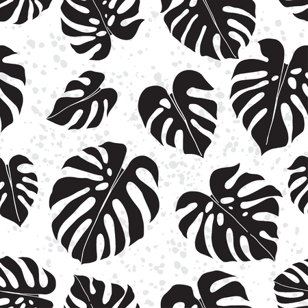 Ilustración de Seamless pattern with textural background. Vector monochrome illustration. Hand-drawn leaf silhouettes. - Imagen libre de derechos