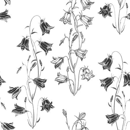 Illustration for Bluebells. Monochrome floral background. Vector illustration. - Royalty Free Image