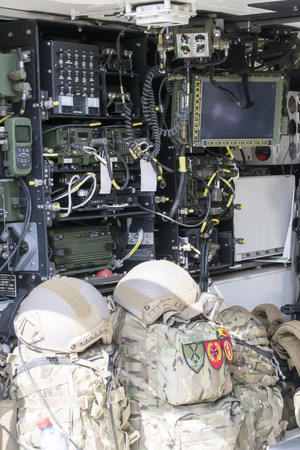 Foto de Armored military vehicle interior with multiple electronic equipments for communications and data transmission - Imagen libre de derechos