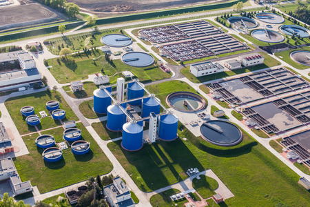 Photo for aerial view of sewage treatment plant in wroclaw city in Poland - Royalty Free Image