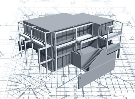 Foto de Architecture model house with blueprint - Imagen libre de derechos