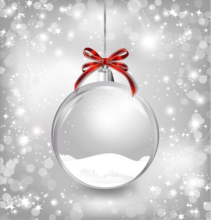 Illustration pour Empty snow-globe with red bow. Vector - image libre de droit