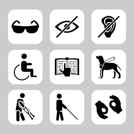 Illustration pour Physically disability related vector icon set - image libre de droit