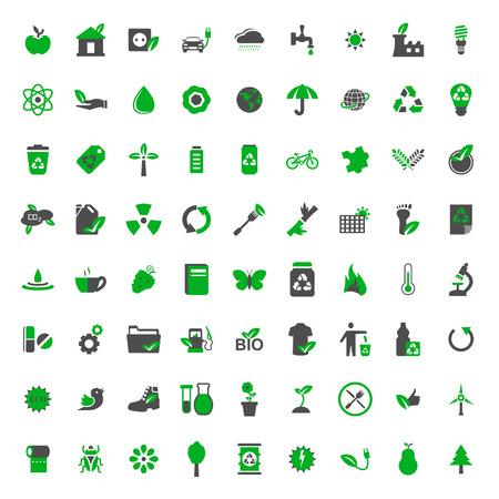Illustration pour Ecology and environment vector icons set - image libre de droit