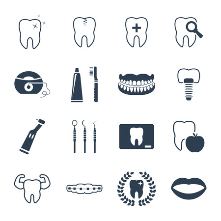 Photo pour Dental and teeth health icon set - image libre de droit