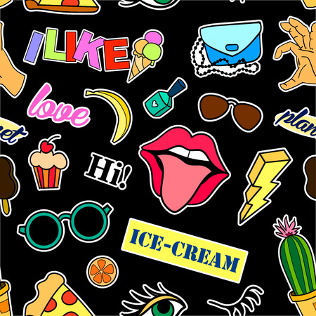 Photo pour Seamless pattern with fashion patch badges. Pop art. Vector background with stickers, pins, patches in cartoon 80s-90s comic style. Lips, eyes, hearts, sun, ice cream, pizza. Vector clip-art. - image libre de droit