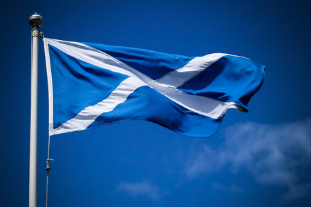 Photo for Scotland flag flying in sunshine against blue sky - Royalty Free Image