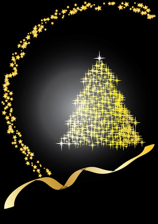 Fir tree  black&gold, Merry Christmas and Happy New Year!vector illustration