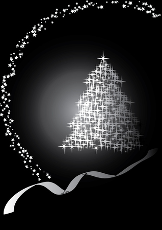 Fir tree  black&white, Merry Christmas and Happy New Year!vector illustration