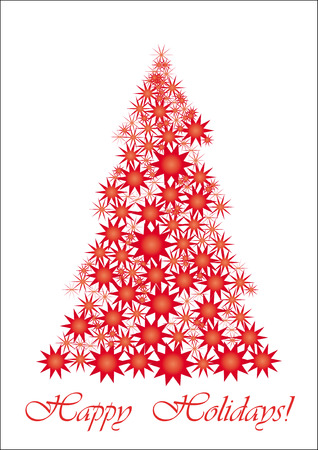 Red Starry Christmas tree, All your friends worldwide will understand wish of Happy Holidays, vector illustration