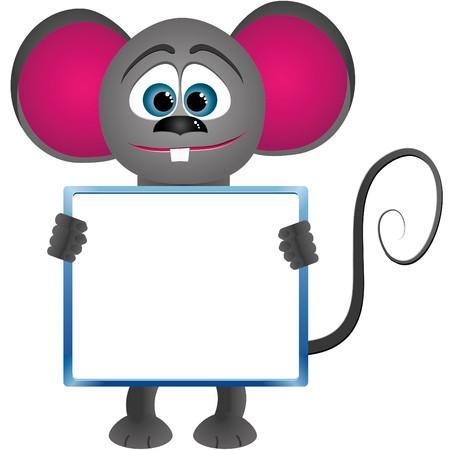 Mouse cartoon keeps frame for text