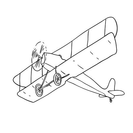 Illustration pour vintage airplane black and white sketch cartoon doodle vector illustration - image libre de droit