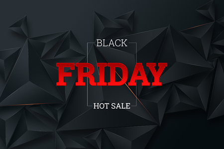 Photo pour Black Friday sale poster. Commercial discount event banner. Black background. Banner, card, copy space. Mockup, layout. Creative background - image libre de droit