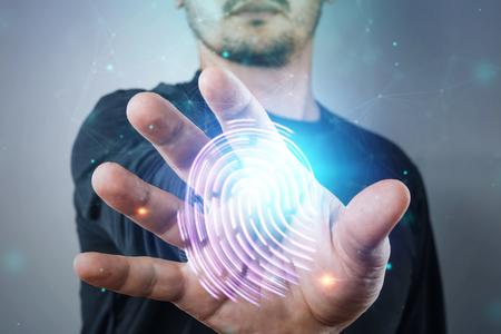 Photo pour Hologram fingerprint, male hand scanning fingerprints. concept of fingerprint, biometrics, information technology and cyber security. Mixed media. - image libre de droit