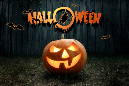Photo for Halloween, ghost, pumpkin. Design of a holiday flyer, invitation card, postcard. - Royalty Free Image