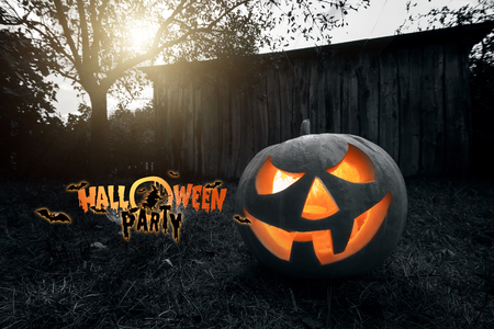 Photo for Halloween party, ghost, pumpkin. Design of a holiday flyer, invitation card, postcard. - Royalty Free Image