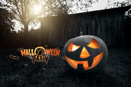 Photo pour Halloween party, ghost, pumpkin. Design of a holiday flyer, invitation card, postcard. - image libre de droit