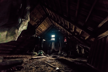 Photo for Attic of an old house, mysticism. Creative background, photo in low key, fantasy concept. - Royalty Free Image