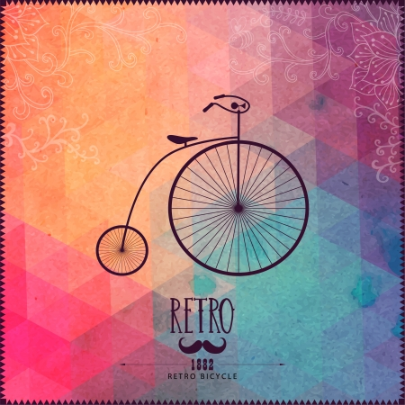 Photo for Retro bicycle on hipster background made of triangles with grunge paper. Retro background with floral ornament and geometric shapes. - Royalty Free Image