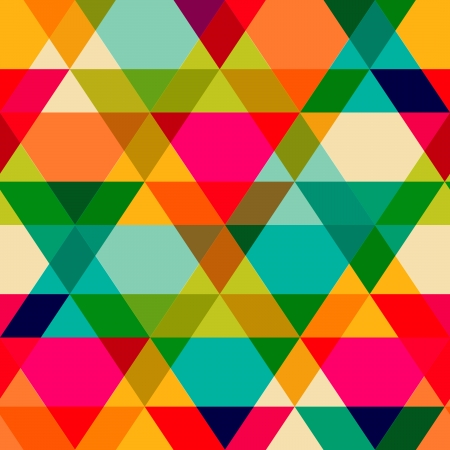 Ilustración de Pattern of geometric shapes. Triangles.Texture with flow of spectrum effect. Geometric background. Copy that square to the side, the resulting image can be repeated, or tiled, without visible seams. - Imagen libre de derechos