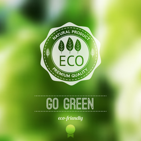 Ilustración de Vector blurred landscape, eco badge, ecology label, nature view.Green, organic product. Eco products, organic standard, or premium quality green product. Quote - Imagen libre de derechos