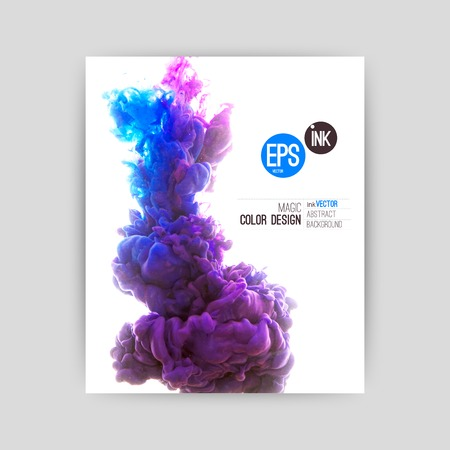 Illustrazione per Vector abstract cloud. Ink swirling in water, cloud of ink in water isolated on white. Abstract banner paints. Holi. - Immagini Royalty Free