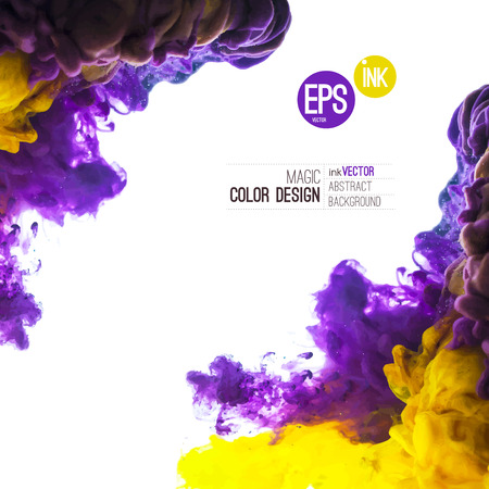 Ilustración de Vector Ink swirling in water, cloud of ink in water isolated on white. Abstract banner paints. Holi. Liquid cloud. Purple background for banner, card, poster, label or web design. Abstract corner. - Imagen libre de derechos