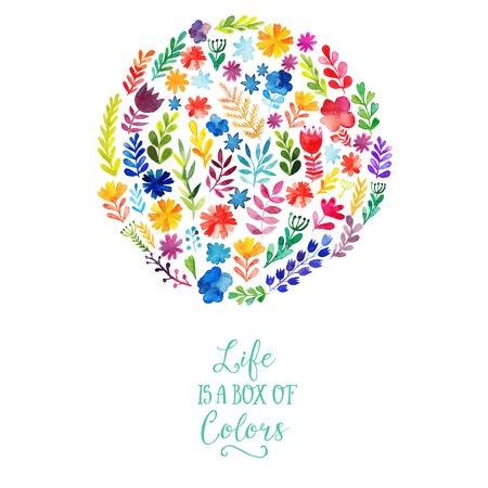 Illustration pour Vector watercolor circle design made of flowers. Botanical decoration, lettering. Floral card with copy space - image libre de droit