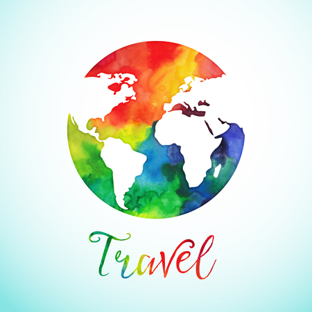 Ilustración de Vector watercolor globe sphere, map design. Travel background calligraphy badge. - Imagen libre de derechos