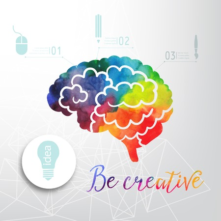Illustration pour Colorful vector brain icon, banner and business icon. Watercolor creative concept. Vector concept - creativity and brain. Lettering. quote - image libre de droit