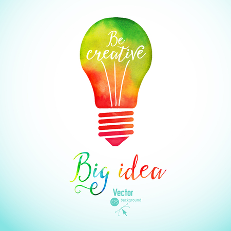 Illustration for Light bulb made of watercolor, lightbulb and creative icons, watercolor creative concept. Vector concept - creativity and idea. Lettering. quote. Creative light bulb, Big idea, Creative Research - Royalty Free Image