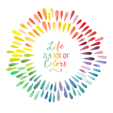 Illustration pour vector watercolor wreath with colorful rainbow drops - image libre de droit