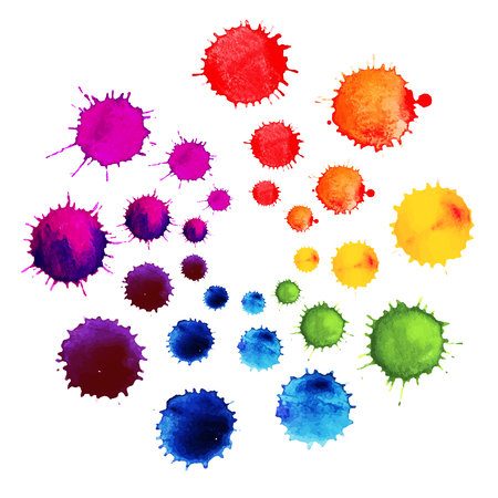 Illustration pour Abstract flower made of watercolor blobs. Colorful abstract vector ink paint splats. Color wheel - image libre de droit