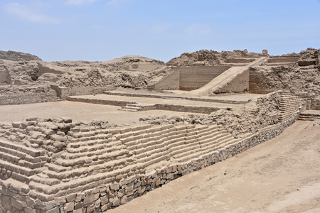 Photo for The ruins of Pachacamac, an ancient archaeological site on the Pacific coast just south of Lima, Peru - Royalty Free Image
