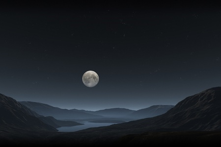 An image of a night landscape with a full moon