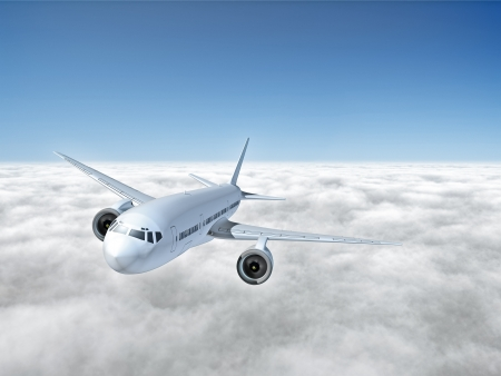 An image of an airplane above the clouds