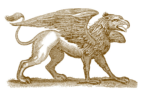 Ilustración de Mythical legendary hybrid creature griffin or gryphon with the front half of an eagle spreading its wings and the rear half of a lion. Illustration after a historic engraving from the 17th century - Imagen libre de derechos
