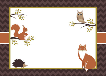 Illustration pour Vector woodland card with fox, squirrel, owl and hedgehog - image libre de droit