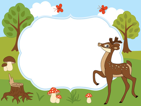 Illustration pour A card template with a cute deer, butterflies, mushrooms, and trees on forest background for baby shower, birthday and parties with space for your text. Vector illustration. - image libre de droit