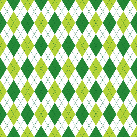 Ilustración de Vector Argyle seamless pattern in soft and dark green color with stitching. Seamless Argyle pattern. Diamond shaped background. Checkered seamless pattern. - Imagen libre de derechos