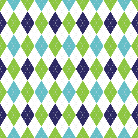 Illustration pour Vector Argyle seamless pattern in navy, soft blue and green color with white stitching. - image libre de droit