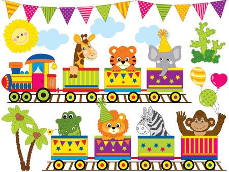 Illustration pour Vector safari animals travelling in the train. Set includes monkey, zebra, tiger, lion, crocodile, elephant and giraffe.  Jungle animals vector illustration. - image libre de droit