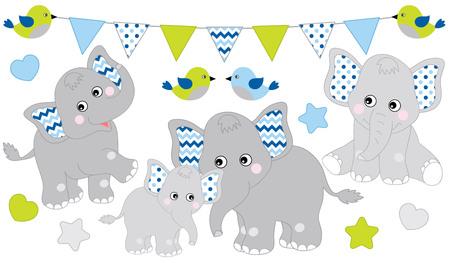 Illustration pour Cute elephants set. Vector elephant illustration for baby boy shower. Vector cartoon elephants. Baby elephant vector illustration. - image libre de droit