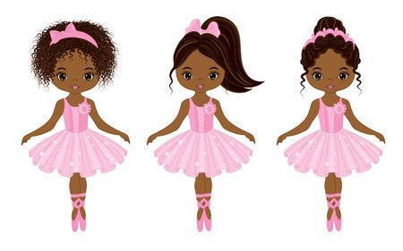 Ilustración de Vector cute little African American ballerinas with various hairstyles. Vector ballerinas in pink tutu dresses. African American ballerinas vector illustration - Imagen libre de derechos