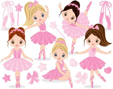 Ilustración de Vector set with cute little ballerinas, bows and ballet shoes. Vector little ballerinas in pink tutu dresses. Little ballerinas vector illustration - Imagen libre de derechos